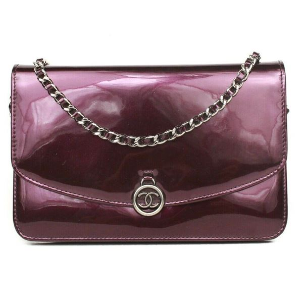 a384ecda97f7 Chanel Wallet On A Chain Crossbody Bag Purple Patent Leather Flap ...