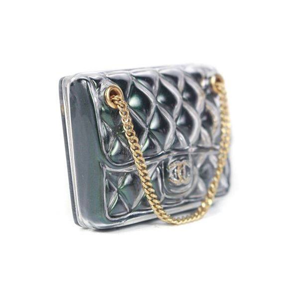 edf3c13b0bea Chanel 2018 Bag Brooch Pin Cc Green Quilted Purse With Gold Chain New