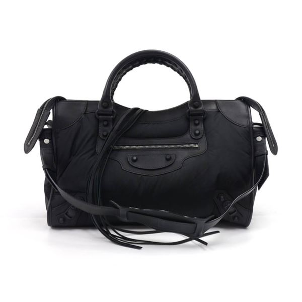 bfb6c84305 Balenciaga Black Nylon & Leather Classic Motorcycle City Shoulder ...