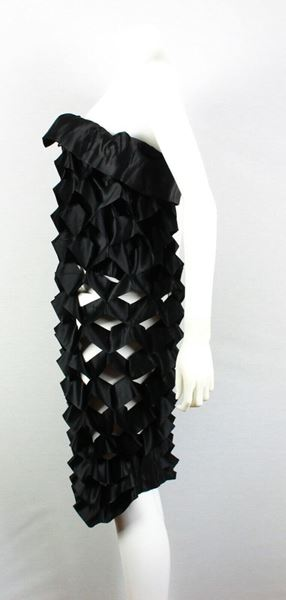 issey-miyake-rare-dress-vintage-cut-out-black-strapless-pre-owned-used