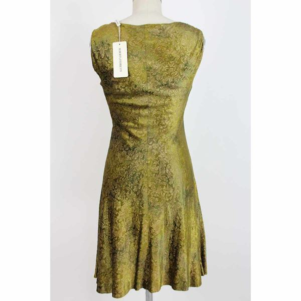 alberta-ferretti-a-line-dress-damask-floral-vintage-green-gold-sz-8