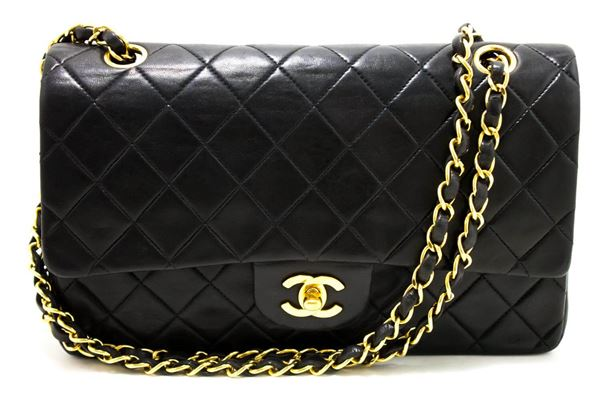 chanel-255-double-flap-10-chain-shoulder-bag-lambskin-black-5