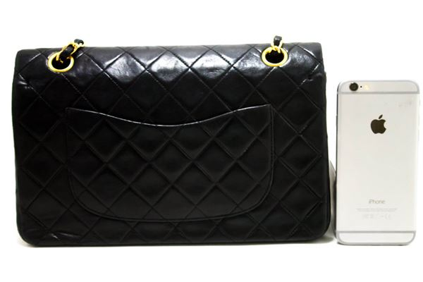 chanel-255-double-chain-flap-shoulder-bag-black-quilted-lambskin