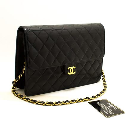 chanel-chain-shoulder-bag-black-clutch-flap-quilted-lambskin-11