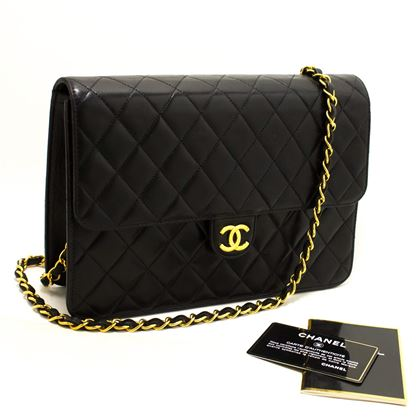 chanel-chain-shoulder-bag-black-clutch-flap-quilted-lambskin-12
