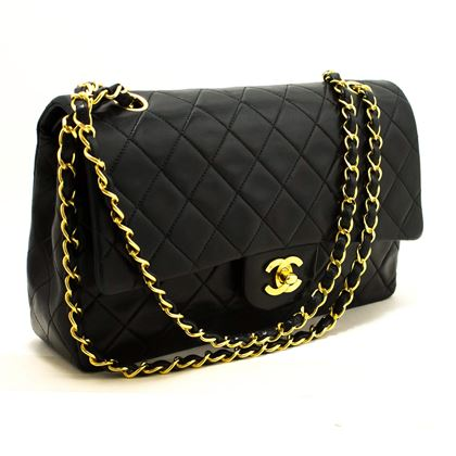chanel-255-double-flap-10-chain-shoulder-bag-black-quilted
