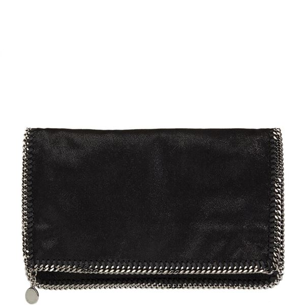 black-shaggy-deer-artificial-leather-falabella-foldover-clutch