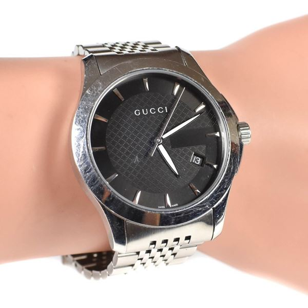 gucci-silver-watch-mens-stainless-steel-pre-owned-used