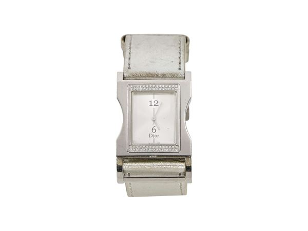 silver-christian-dior-leather-strap-watch