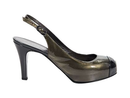 bronze-chanel-patent-leather-slingback-pumps