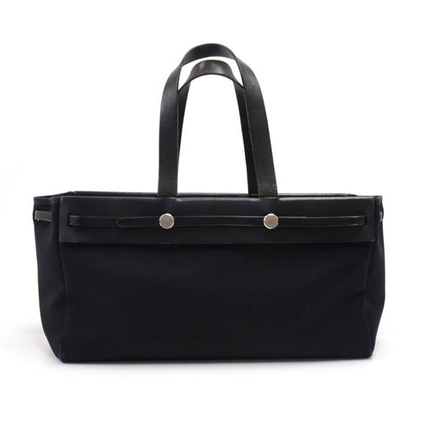 551867f2cf43 Hermes Herbag Cabas 2-in-1 Size 40 Black Canvas Leather Tote Bag
