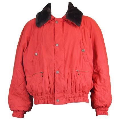 Oliver by Valentino 1980s Red Padded Vintage Bomber Jacket