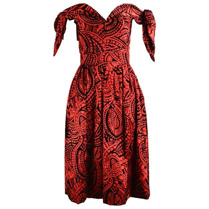 Murray Arbeid 1980s Red Flocked Velvet Vintage Gown