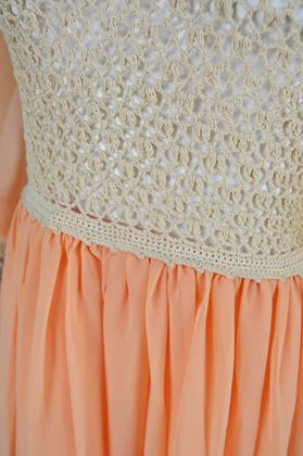 Anthony James Couture 1970s Vintage Peach Chiffon Dress