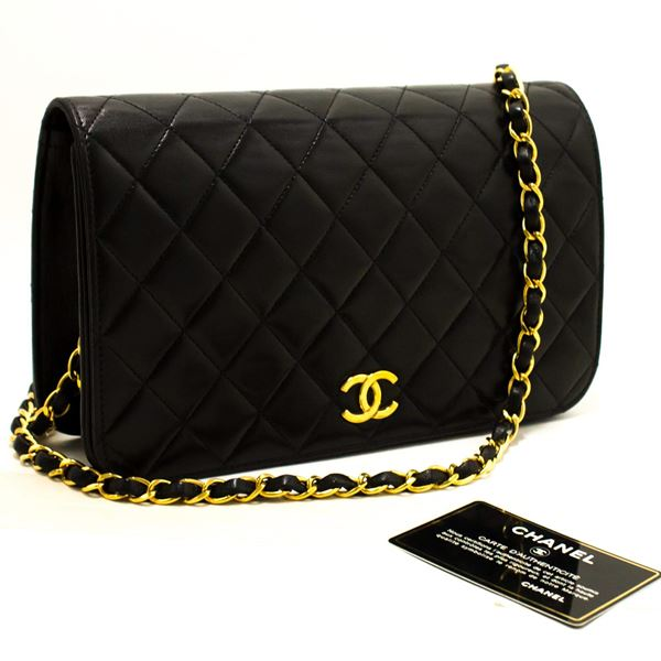 36e679708083 Chanel Chain Shoulder Bag Black Clutch Flap Quilted Purse Lambskin