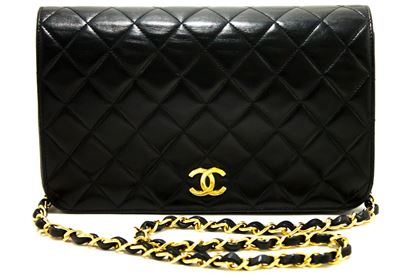 chanel-chain-shoulder-bag-black-clutch-flap-quilted-purse-lambskin-6