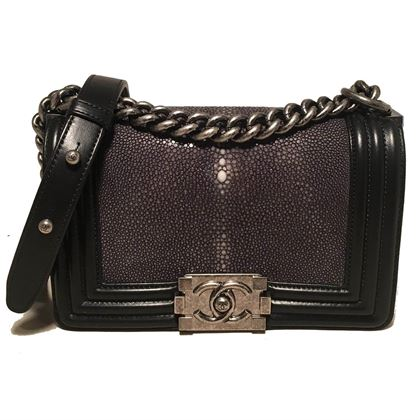 rare-chanel-black-leather-and-grey-galuchat-stingray-small-boy-bag-classic-flap