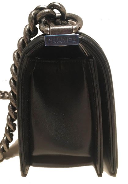 Rare Chanel Black Leather And Grey Galuchat Stingray Small