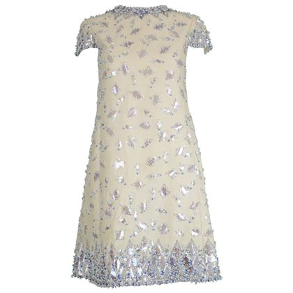 Malcolm Starr 1960s Vintage Hand Beaded Cocktail Dress