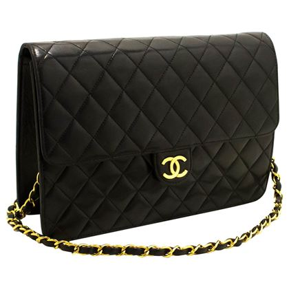 chanel-chain-shoulder-bag-black-clutch-flap-quilted-lambskin-13