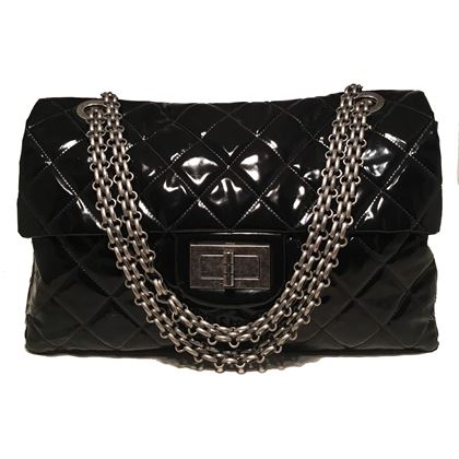chanel-255-reissue-classic-flap-oversized-xxl-black-patent-leather-shoulder-bag