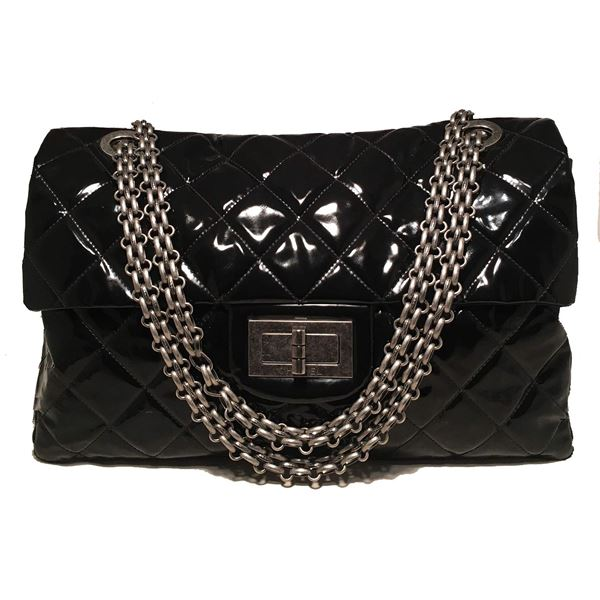 bb0bf0d858e8 Chanel 2.55 Reissue Classic Flap Oversized Xxl Black Patent Leather ...