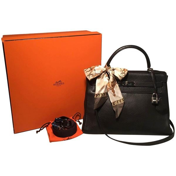 550b251452ed Hermes Dark Brown Clemence Leather 32cm Kelly Bag PDH