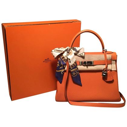 hermes-orange-togo-leather-phw-28cm-kelly-bag