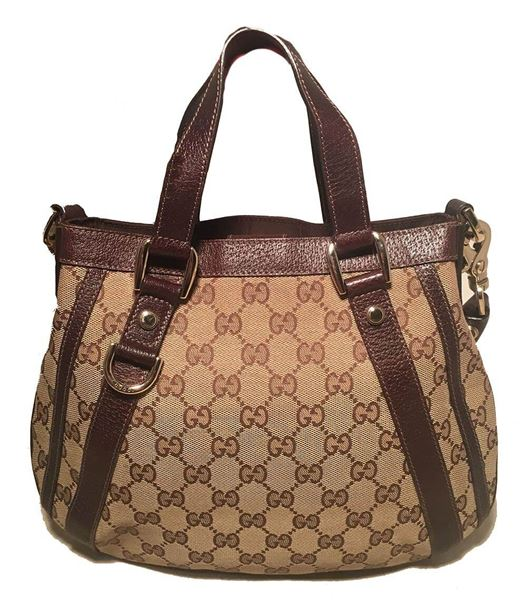c13990ccd63a Gucci Monogram Canvas and Brown Leather Small Shoulder Handbag