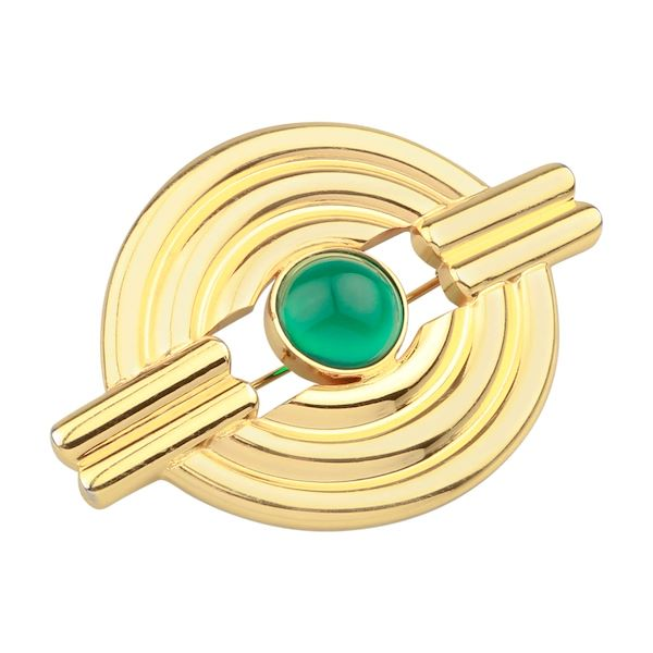 loewe-brooch-with-green-colour-centre