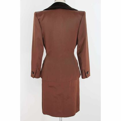 yves-saint-laurent-rive-gauce-skirt-suit-jacket-satin-velvet-vintage-brown