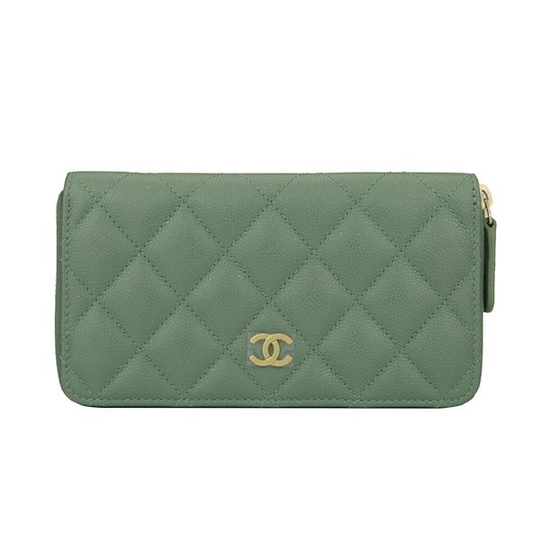 5537890779a1 Chanel Classic Zipped Wallet Medium Green Caviar Iridescent Brushed ...