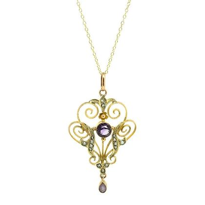 antique-edwardian-amethyst-pearl-9ct-gold-pendant-necklace-3