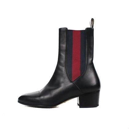 gucci-striped-boots-black-leather-red-blue-365-us-65-pre-owned-used