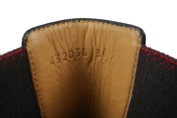 0ce0c3ca833 Gucci Striped Boots Black Leather Red Blue 36.5 Us 6.5 Pre-Owned Used