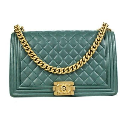 chanel-medium-crossbody-boy-bag-green-leather-quilted-gold-chain-cc-logo-flap-pre-owned-used