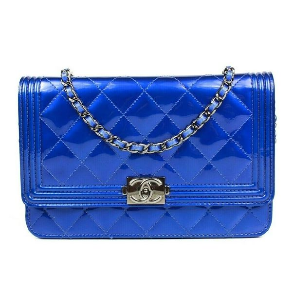 d1cfb14cbaa1 Chanel Boy Crossbody Blue Patent Leather Silver Bag Cc Woc Pre-Owned ...
