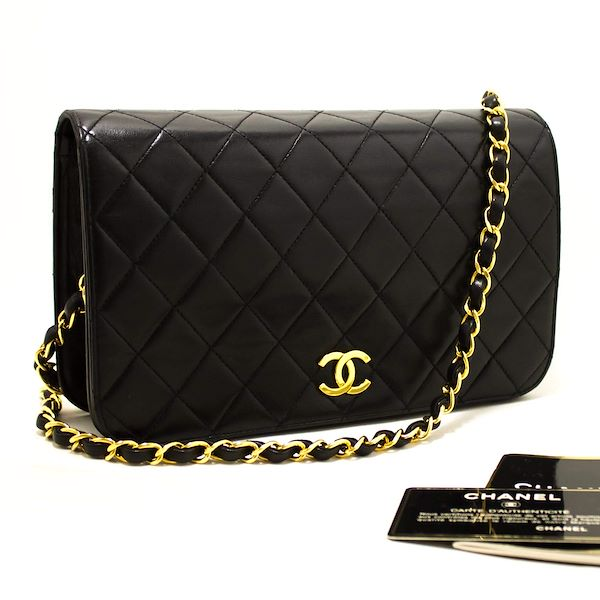 b0c1eae1d455 Chanel Chain Shoulder Bag Black Clutch Flap Quilted Lambskin
