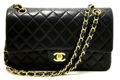 chanel-255-double-chain-flap-shoulder-bag-black-quilted-lambskin-2