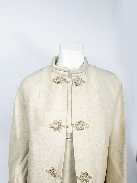 1950s-beige-silk-dress-with-matching-swing-coat