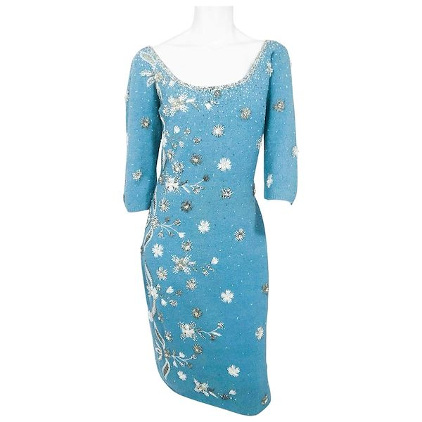 1950s-aqua-knit-dress-with-hand-beading-accents