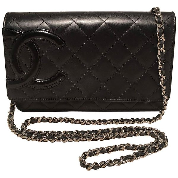 52a3dab03bd4f9 Chanel Black Quilted Leather CC Patent Logo WOC Wallet on a Chain
