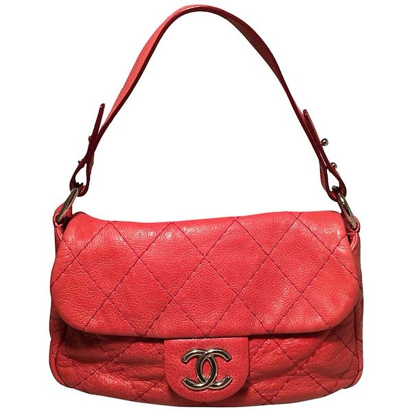 cad442195dcb Chanel Red Quilted Glazed Leather Classic Flap Shoulder Bag
