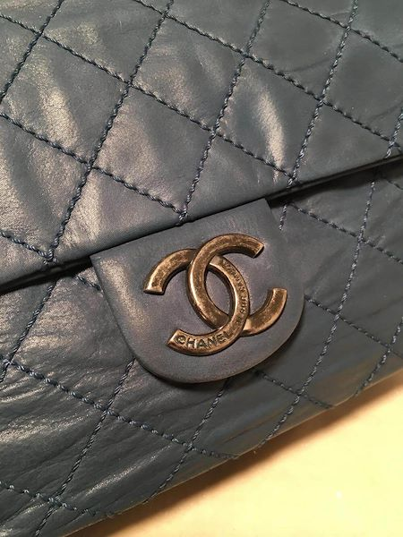 d82c86807f514d Chanel Quilted Navy Blue Coated Leather Classic Flap Shoulder Bag