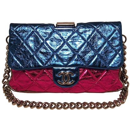 chanel-pink-blue-silver-black-metallic-leather-classic-flap-frame-shoulder-bag