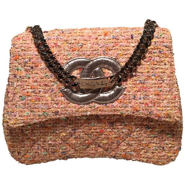 f222366db339 Chanel Vintage Pink Peach Woven Boucle Tweed Classic Flap Handbag