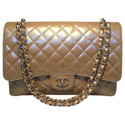 chanel-nude-gold-pearlized-patent-leather-maxi-classic-flap-shoulder-bag