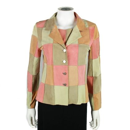 chanel-2-piece-jacket-set-with-top-pink-suede-patchwork-fr-38-40-us-6-pre-owned-used