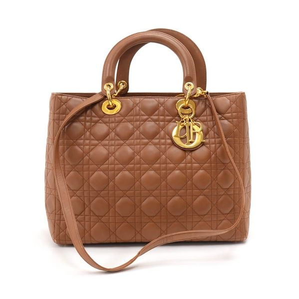 6b1336b1baa0 Vintage Christian Dior Lady Dior Large Brown Quilted Cannage Leather ...