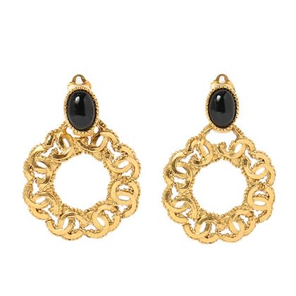 chanel-oval-stone-cc-mark-hoop-swing-earrings-black